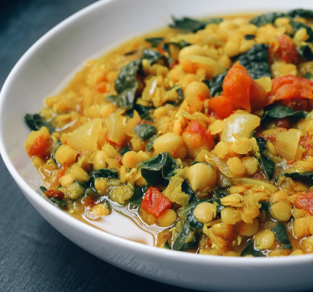 Protein Rich Chicken Curry Red Lentil Stew with Kale & Chickpeas ...
