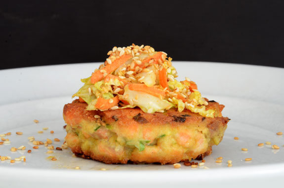 Yummy spicy salmon burgers with Asian Slaw