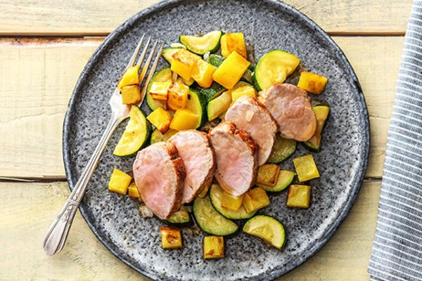 Roasted Pork Tenderloin with Delicious Skillet Yukon Potatoes and Zucchini