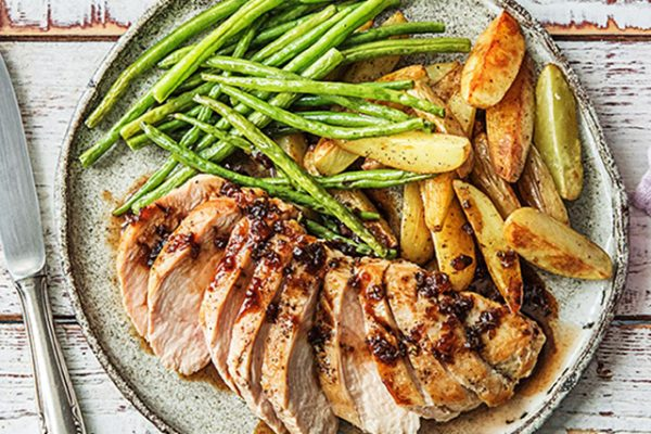 Amazing Apricot Chicken with Roasted Potatoes and Green Beans
